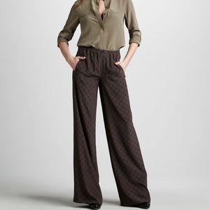 Vince Printed Pants Geometric Wide Leg 100% Silk S